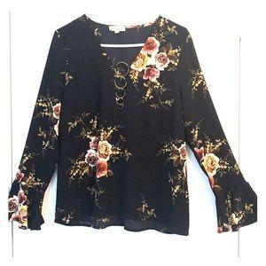 Entro Navy sheer long sleeve blouse.
